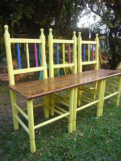 Cadeiras transfromadas em banco de jardem -  Reduzir / Reutilizar / Reciclar