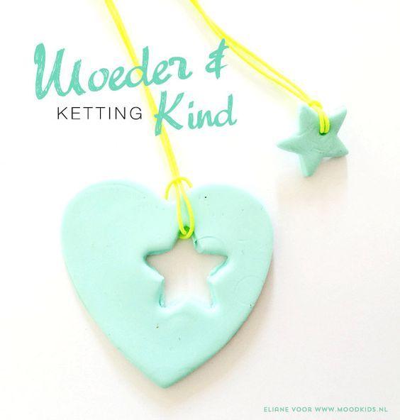 DIY Moeder Dochter Ketting van klei - Moodkids TIP voor moederdag ! : Moodkids