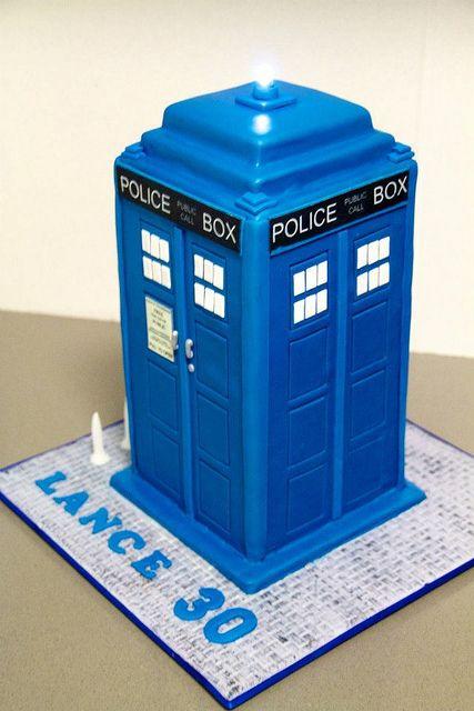 TARDIS Cake with light on top
