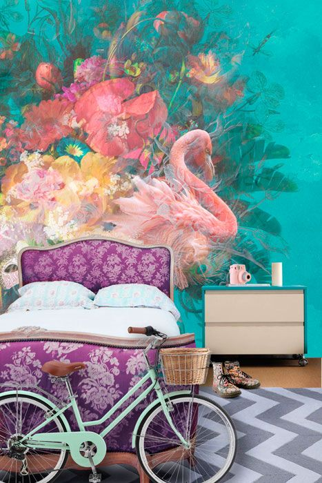What beautiful colors in this Bohemian Wall Mural! (I love tropical and flamingos, too!) Bohemian Mural Collections - Back to the Wall