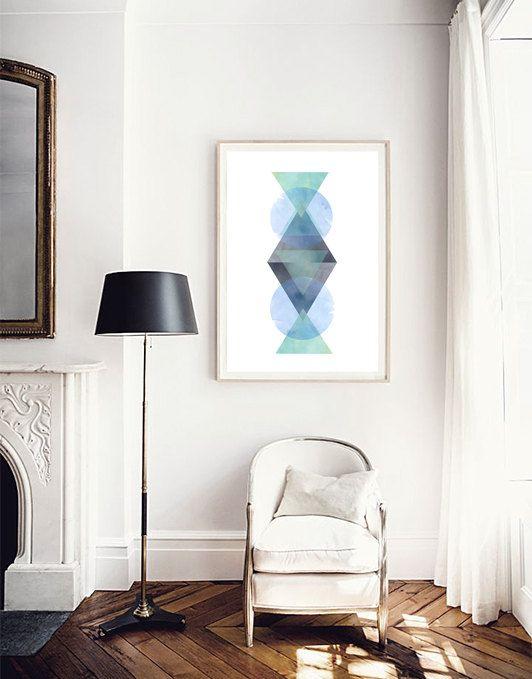 Aquarel, Abstract aquarel, geometrische kunst, driehoeken print, groen blauwe Aqua Mint, abstracte kunst, Poster, kunst aan de muur, Kids Prints