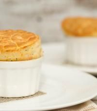 Orkney cheddar cheese soufflé with smoked salmon