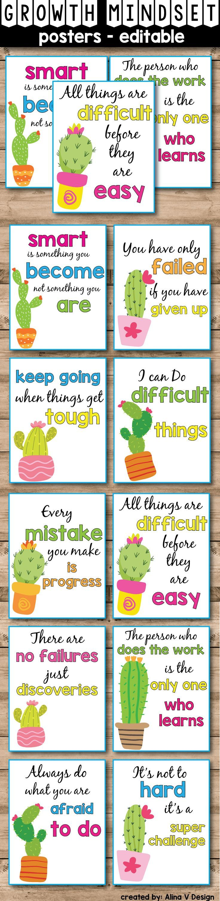These growth mindset posters are the perfect addition to your succulent theme classroom decor. If you are teaching kindergarten, elementary or first grade, these set is for you. Your students, and kids of all ages, will love these quotes and will get encouraged to work for success. Print, laminate (or frame) these cactus themed posters, display them in your classroom and start introducing your students to a new way of thinking.