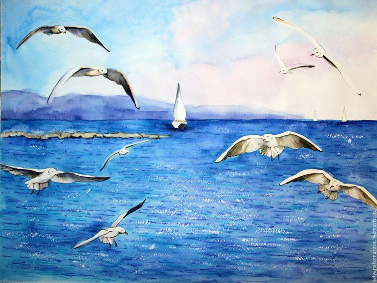 """Купить Картина акварелью """"Морские чайки"""" - синий, акварель, акварельная картина, акварельная живопись"""