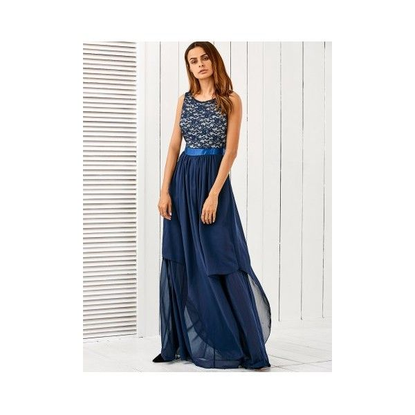 Maxi Lace Panel Chiffon Formal Ball Gown Dress (£19) ❤ liked on Polyvore featuring dresses, gowns, formal occasion dresses, formal ball gowns, chiffon gowns, formal evening dresses and maxi gowns