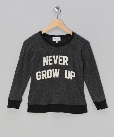 Black Never Grow Up Jumper - Girls by Wildfox on #zulily