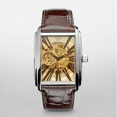 Emporio Armani Watch AR4230 Mens Meccanico Silver-Tone Dial Watch