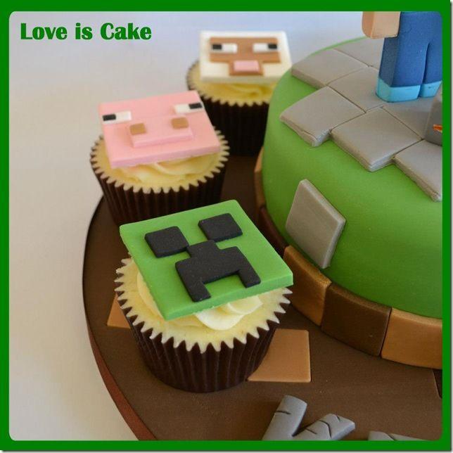 Bolo Geek: Minecraft Bolo e Cupcakes