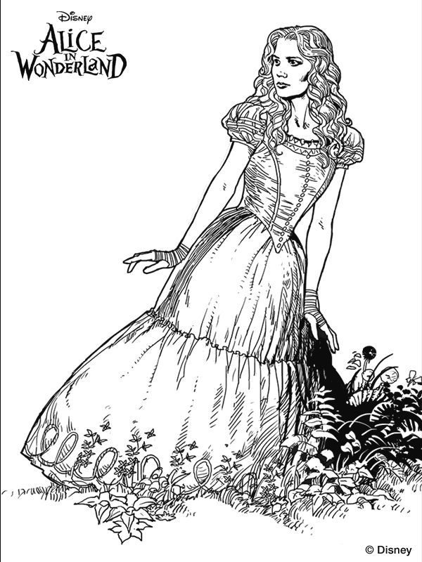 tim burtons alice in wonderland coloring page