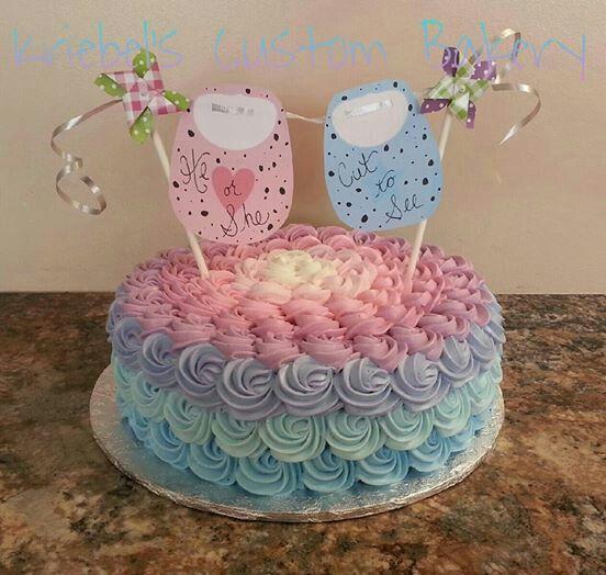 Ombre gender reveal cake.