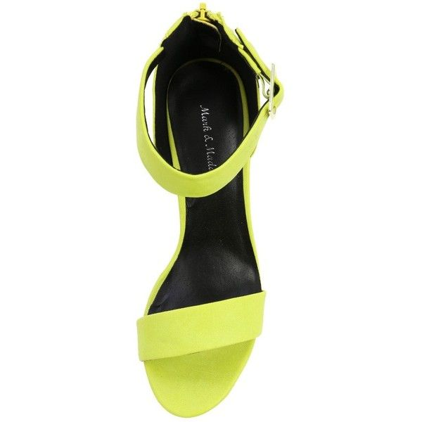 Makemechic ($27) ❤ liked on Polyvore featuring shoes, sandals, heels, flats, обувь, ankle strap flats, wedge heel sandals, yellow heeled sandals, platform heel sandals and yellow flats