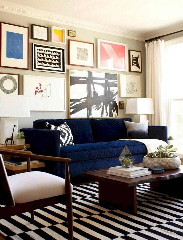 20 Wohnzimmer ideen blaues sofa