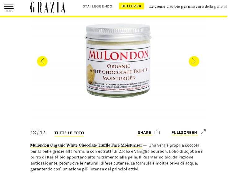 """MuLondon is featured in Italian Grazia.  """"A real treat for the skin thanks to its formula with extracts of cocoa and bourbon vanilla. Jojoba oil and organic shea butter are highly nourishing for the skin. Organic rosemary antioxidant promotes the skin's natural defences. The formula is also free from water, thus ensuring more intense action of the active ingredients.""""  Get MuLondon products: www.MuLondon.com  #MuLondon #Grazia #creme #bio #viso #moisturiser #vegan #organic #natural…"""