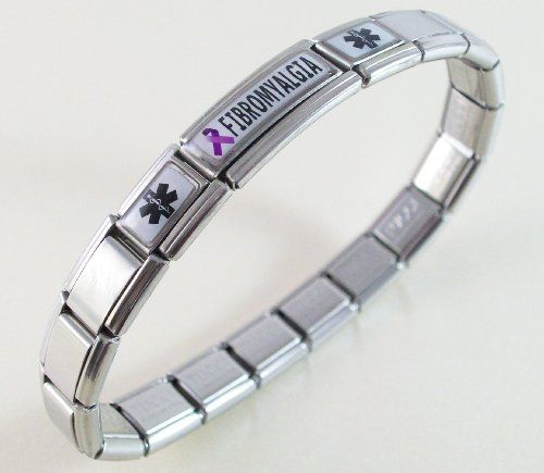 Amazon.com Fibromyalgia Medical ID Alert Italian Charm Bracelet Jewelry