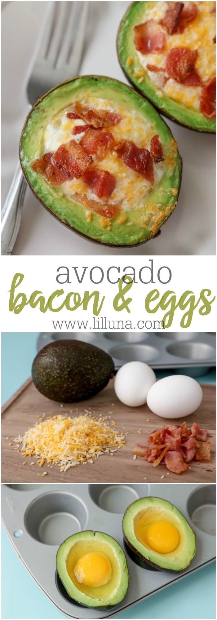 Breakfast, Start your day off right here! Avocado Bacon and eggs - one of our favorite breakfast recipes. They're topped with cheese and so delicious!
