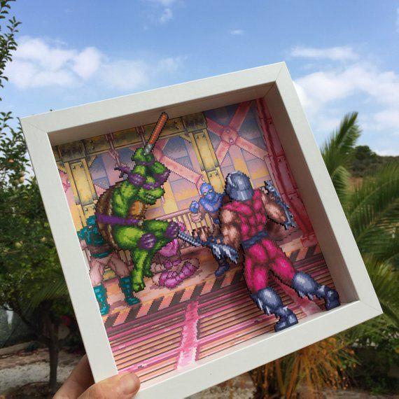 Tmnt Tournament Fighters 3d Shadow Box 10 X10 Snes Konami Nintendo Ninja Turtles Tmnt Video Game Gift Pixel Art Wall Art 3d Shadow Box Nerd Decor Shadow Box