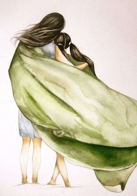 mother and daughter with green blanket art by PrintIllustrations, $19.00