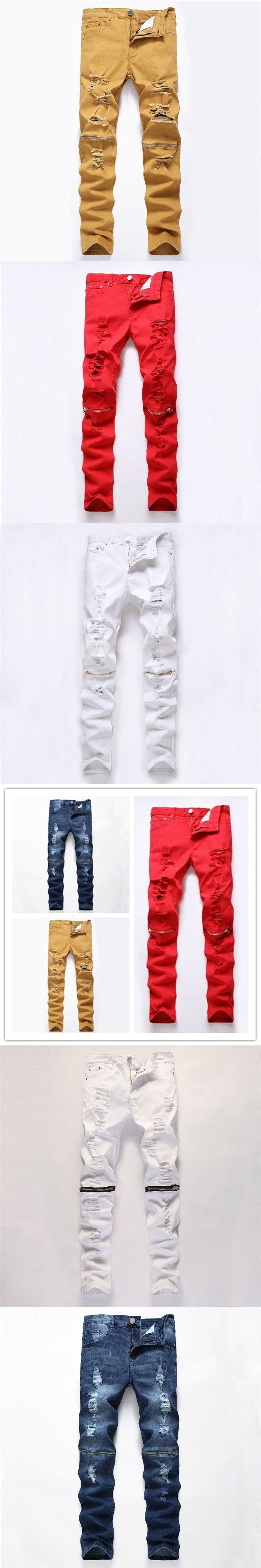 New Fashion Mens Ripped Biker Jeans Men 100% Cotton Red Black White Blue Khaki Slim Fit Rock Motorcycle Jeans Men's Skinny Pants