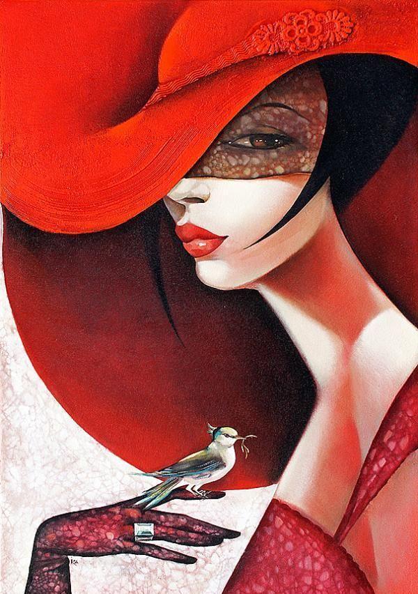 Paintings by Ira TsantekidouWall Art, Red Fashion, Portraits Painting, Red Hats, Femme Fatale, Ira Tsantekidou, Art Deco Painting, Greek Art, Artdeco