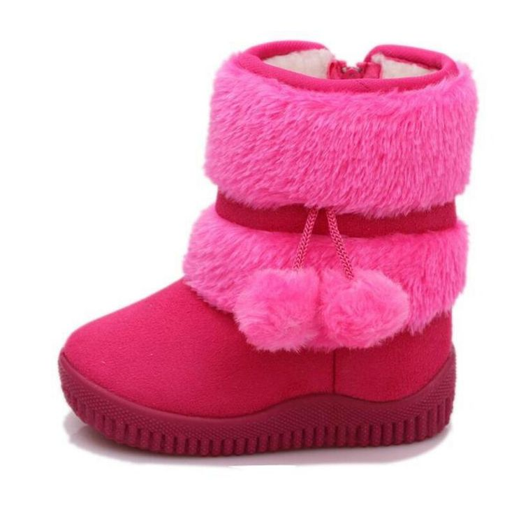 Children Boots 2016 Antislip Kids Boots For Girl Winter Warm Children Shoes US Size 7 Black Brown Gray Pink Yellow