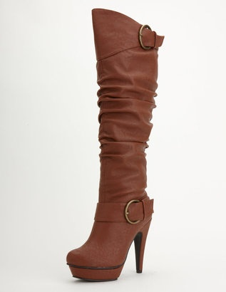 ShopStyle: Buckle Up Knee High Platform Boot