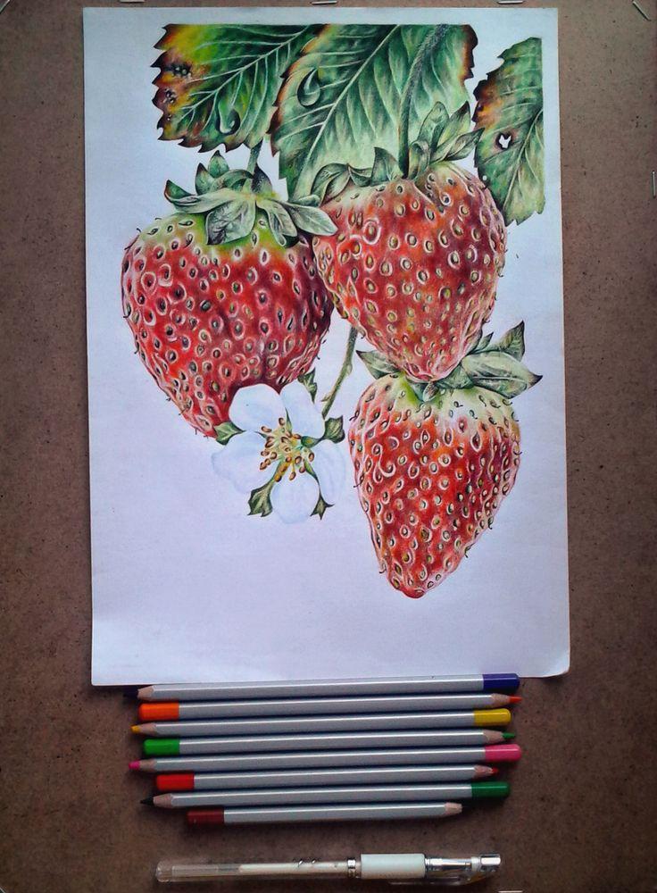 А4, акварельные карандаши, белая и черная гелевая ручка/A4, watercolor pencils, black and white gel pen Автор - Шама Виктория