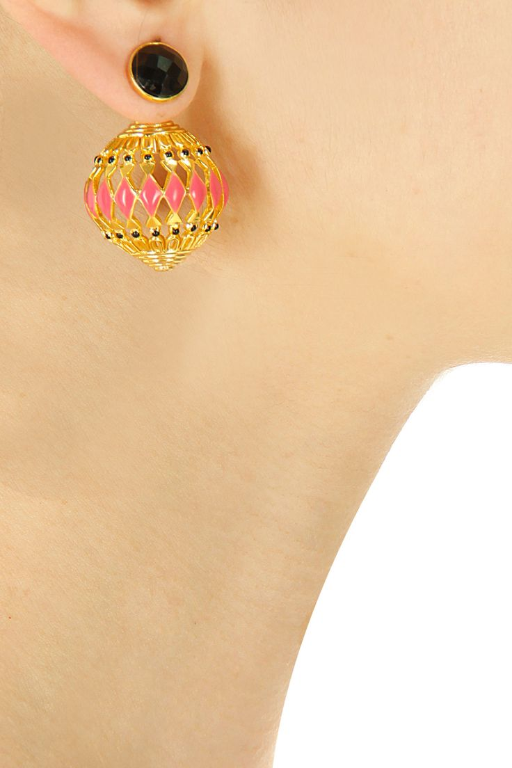 Gold plated black onyx earrings available only at Pernia's Pop-Up Shop.