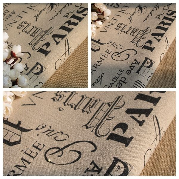 """Linen Cotton Fabric Cloth -DIY Sewwing Cloth - Paris English letters printed Vintage Style - 55"""" 1 meter"""