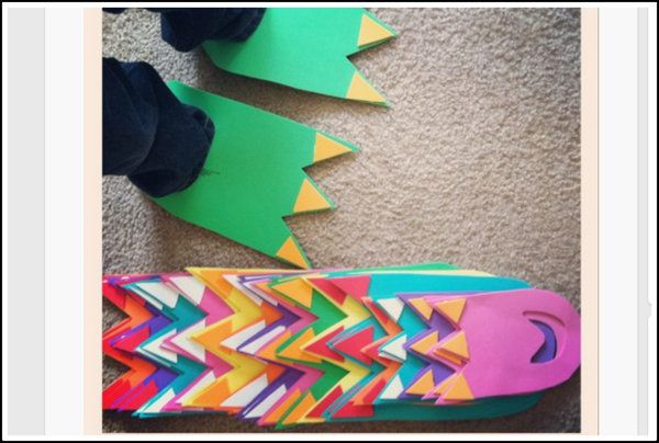 DIY dino feet.  Try using colored paper instead of foam.