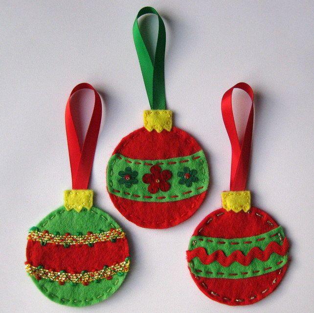 felt baubles christmas decorations - Google Search