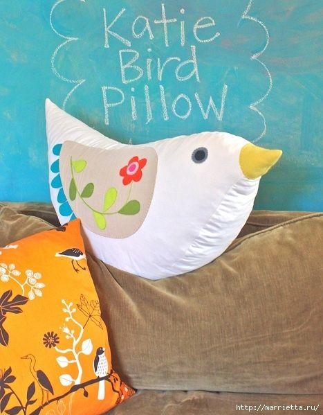 Cucire un uccello primavera cuscino di rialzo (24) (467x599, 189KB)