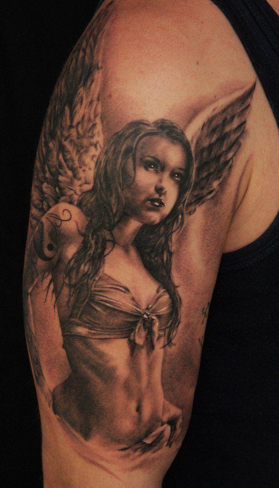 Oryginalny Anioł Pin Up Girl Tatuaż na ramieniu