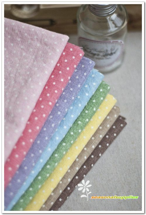Half Yard Linen fabric for craft,9 colors for choice coffee yellow green blue purple peach pink ,polka dots print,diy C16