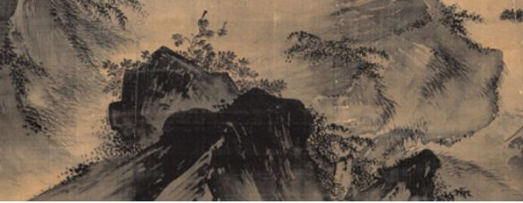 """Ma yan, face à la lune, détail: rocher. - 7) MA YUAN: La seconde technique utilisée par Ma Yuan consistait à structurer le tableau le long de lignes de forces, en général des diagonales. C'est ainsi que dans """"Face à la lune"""", à partir d'une raie de lumière oblique qui rompt la masse obscure de l'angle bas gauche, les 2 sujets essentiels de la scène, le lettré et la lune, se succèdent sur une diagonale ascendante qui partage le tableau en 2. Une autre diagonale qui s'oppose à la 1° en étant…"""