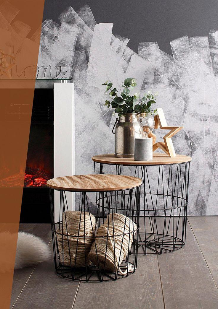 Beistelltisch, aus Metall und Holz, 2er Set