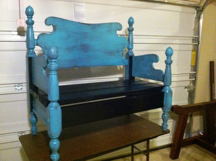 Check out the bench we made out of an old bed frame for Cheap ways to make a bed frame