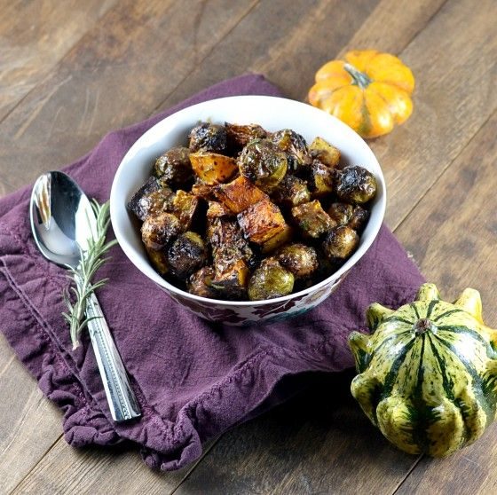 Brussels Sprouts & Butternut Squash with Warm Maple-Mustard Dressing