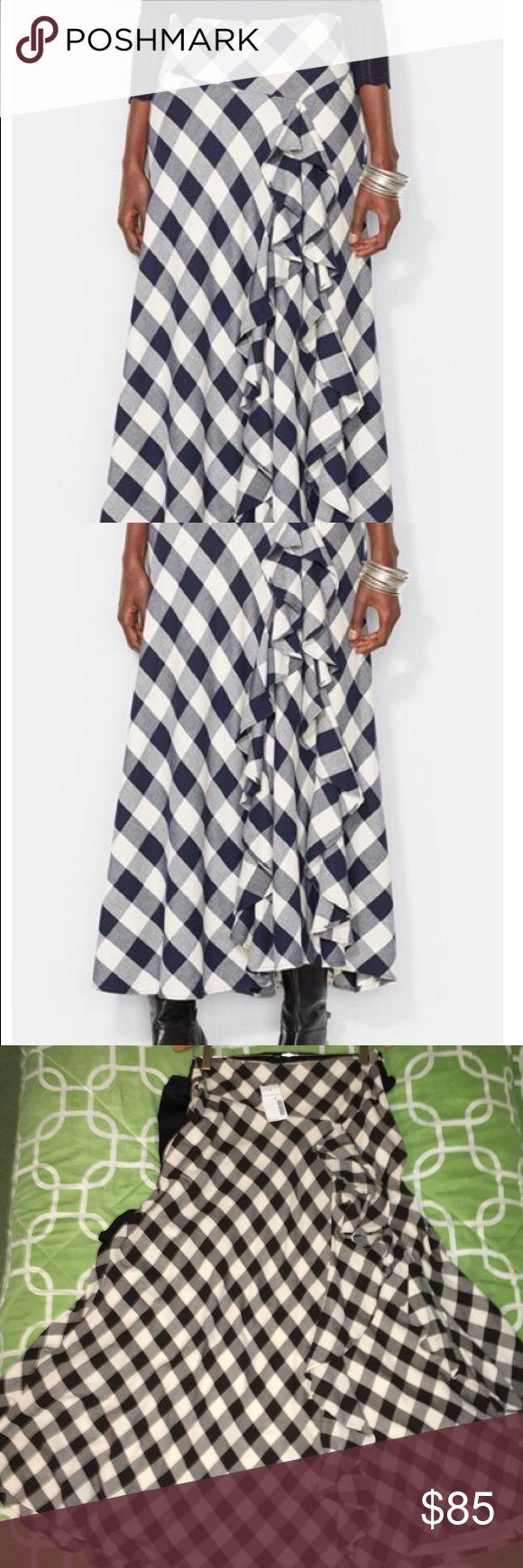 Ralph Lauren Skirt Very trendy Ralph Lauren Ruffle skirt, Long Plaid BLack and Off white design (more like egg shell). Ralph Lauren Skirts Maxi