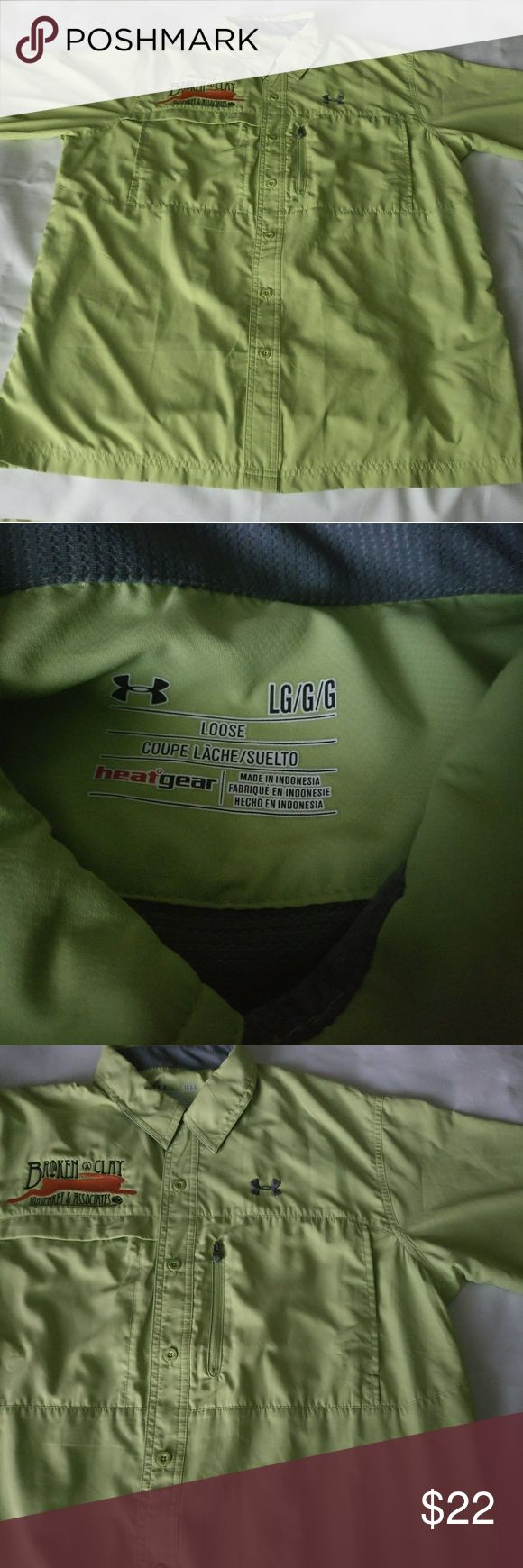 Under Armour Loose Fit Heat Gear Vented Fishing Gently used before hand. Very little if any wear.  TAG SIZE: L  Length:  23.5 inches armpit to armpit & 30 inches shoulder to base  ITEM SPECIFICS Color - Green Fabric - 100% Polyester Under Armour Shirts Casual Button Down Shirts