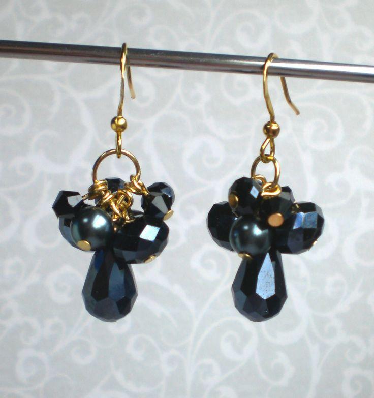 Black cluster earrings Black prom earrings Crystal cluster earrings Black party earrings Swarovski pearl earrings Black sparkling earrings by MrsBeadyEyes on Etsy