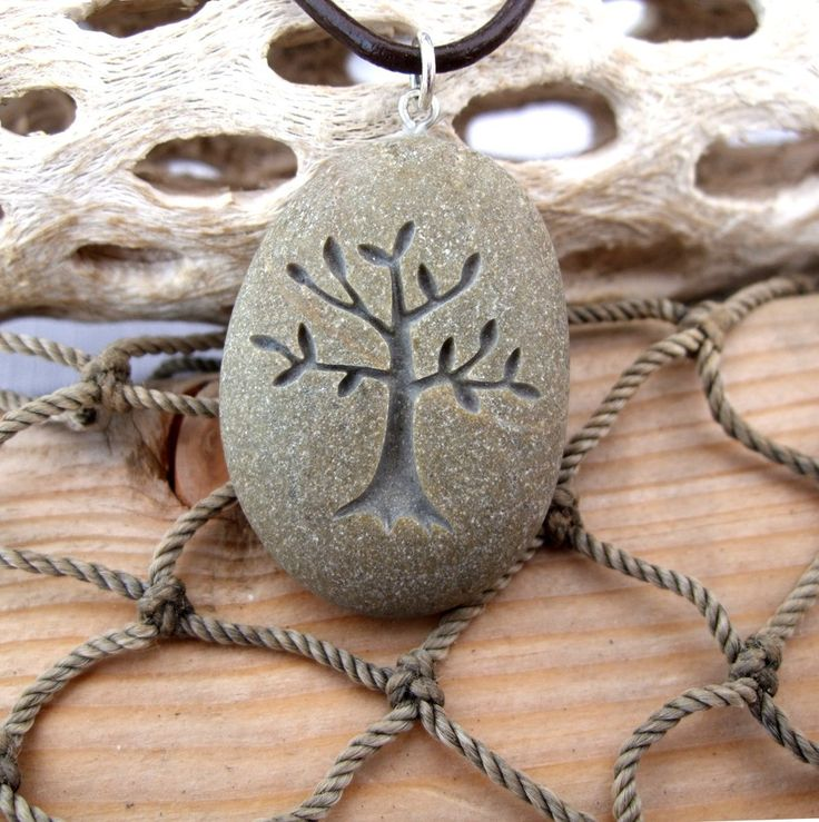 Tree of Life - Nature's Mother necklace - All Natural engraved Beach Stone Pendant with top drilled Bail