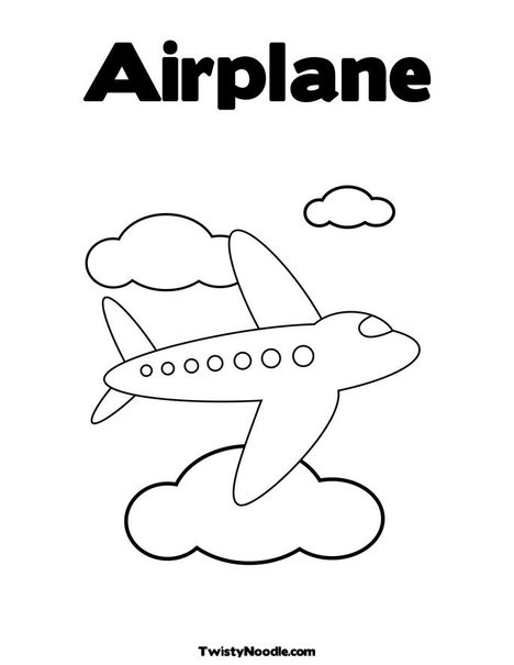 airplane flying in the clouds coloring page
