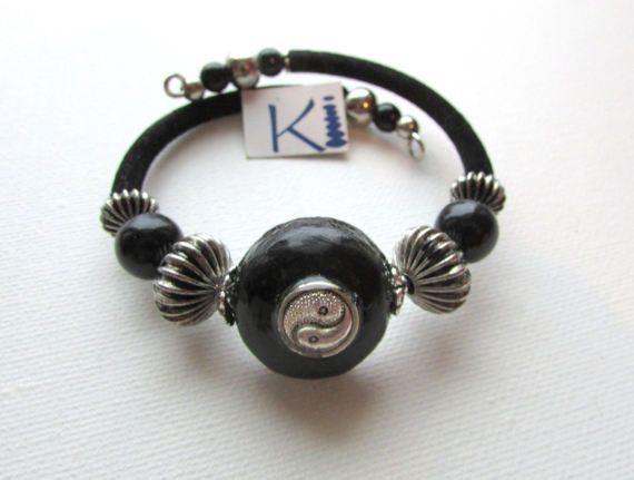 Orgone Bracelet  Black Tourmaline Labradorite Kyanite Yin Yang