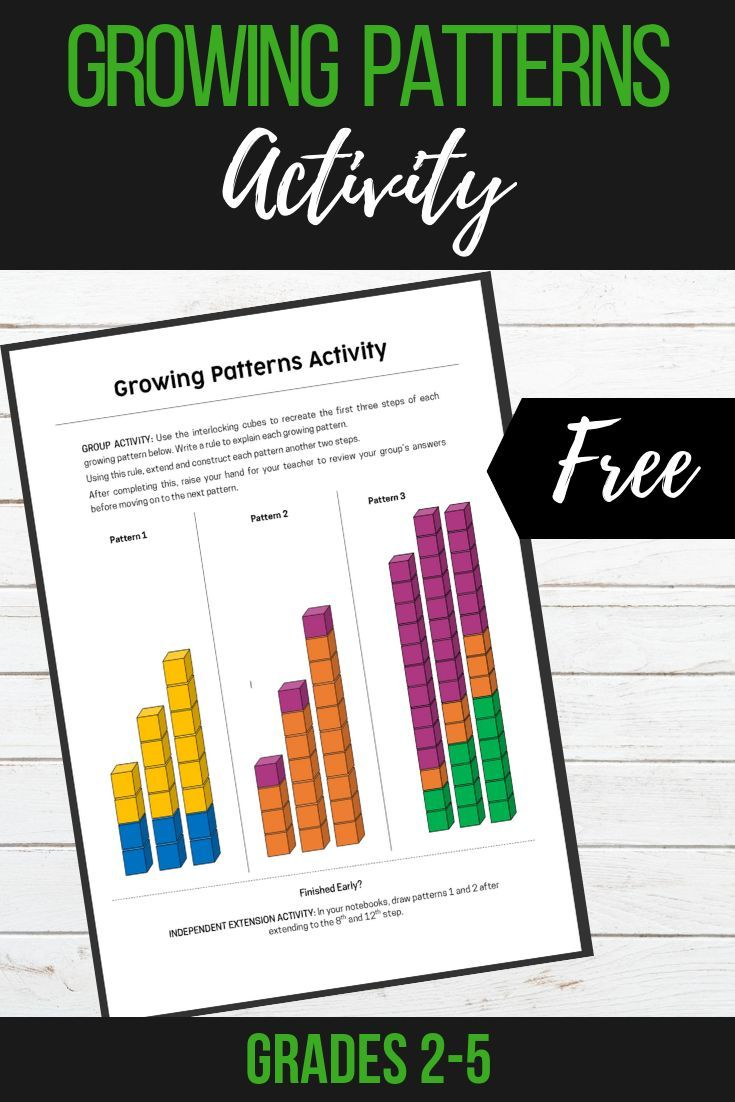 Growing Patterns Activity | Elementary Grades 3-8~ TiePlay