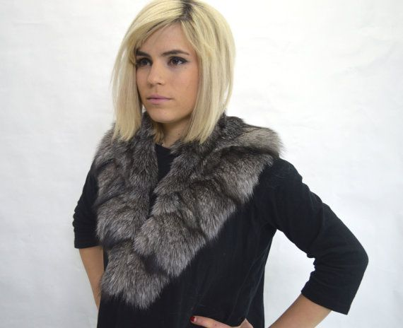 Real frost fox fur collar. Genuine pelt. by BeFur on Etsy