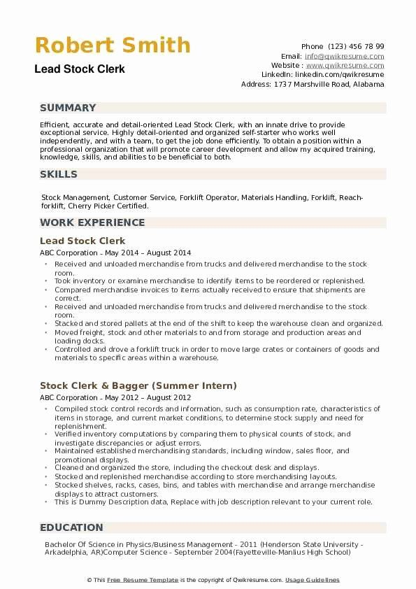 Stocking Job Description Resume Best Of Stock Clerk Resume Samples In 2020 Resume Examples Teacher Resume Examples Manager Resume