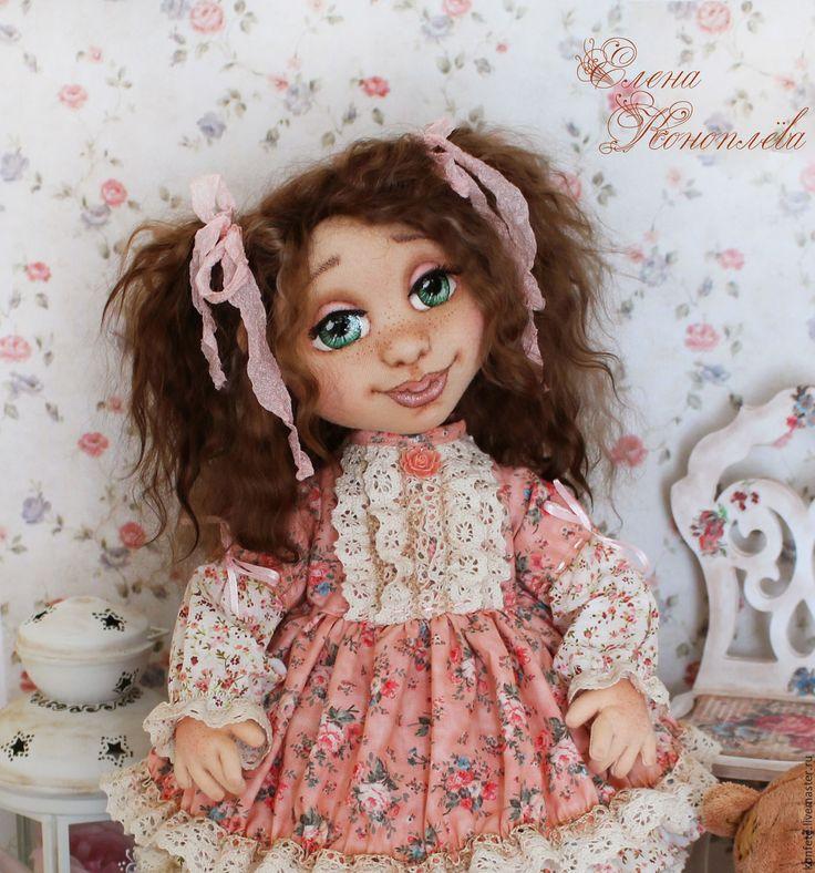 Купить Кукла Ульяша текстильная интерьерная с объемным личиком - подарок девушке, подарок коллеге, коралловый