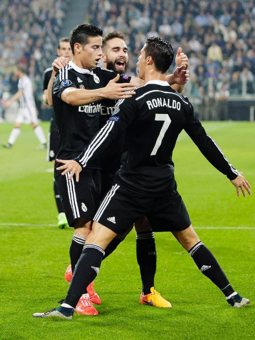 Real Madrid vs Juventus, Champions League semi final Celebration with CR 7 scoring a goal. 5.5.15