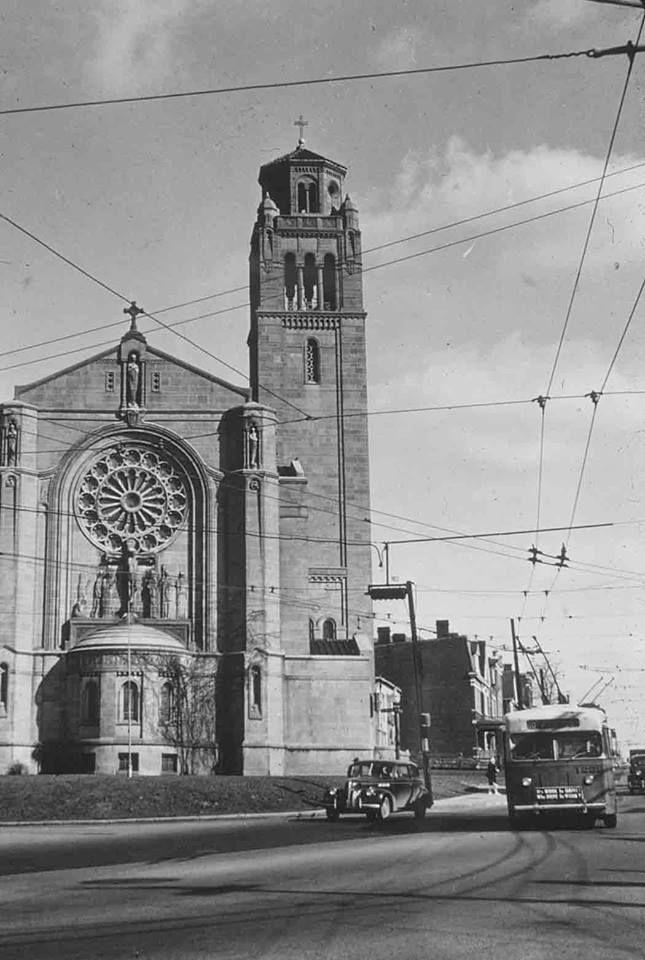 St. Monica's church at McMillan & Fairview Ave. Photo circa 1950's.