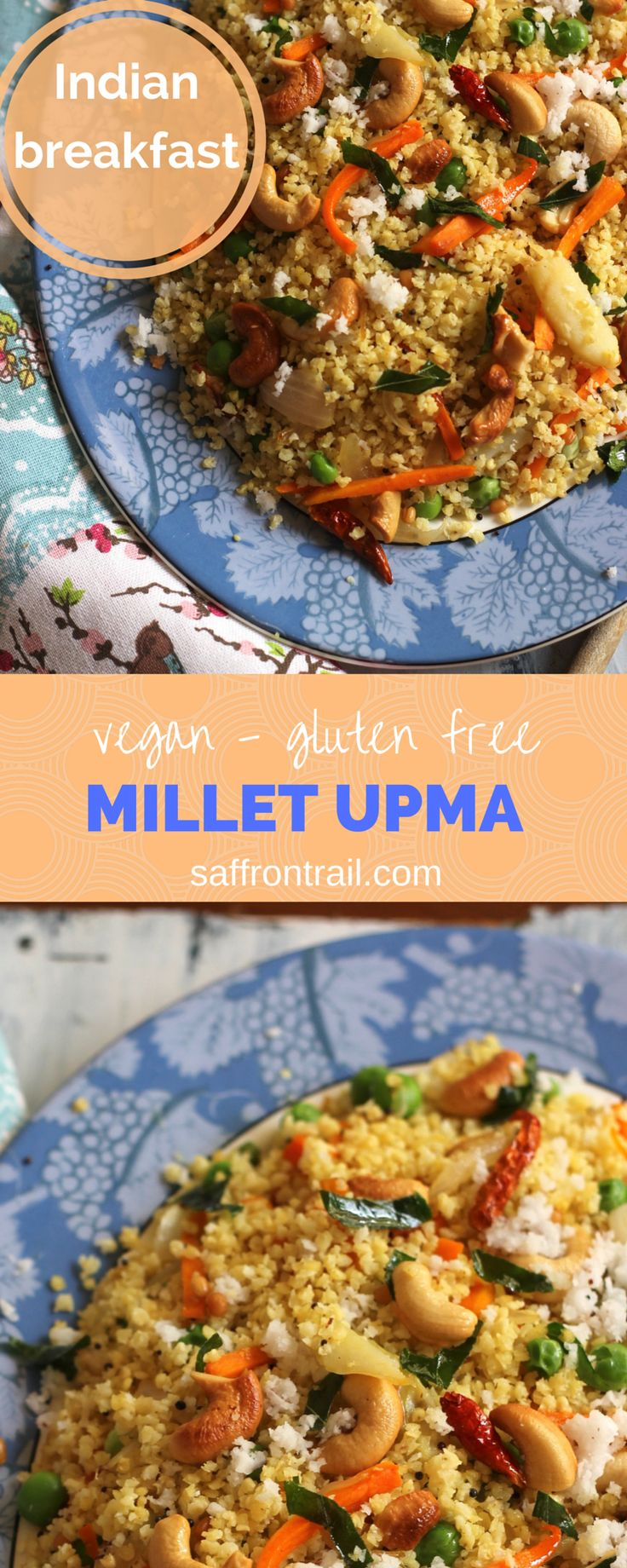 A South Indian Upma made healthier and filling with the use of Millets instead of rava/semolina. Naturally gluten-free and vegan too, if you use coconut oil.